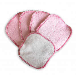 Square makeup removers washable Naturiou pink 10 x 10 cm