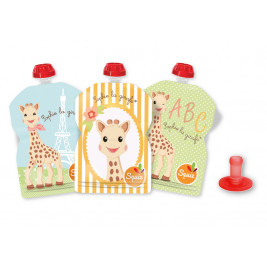 Lot of 3 water bottles reusable Squiz sophie the giraffe + 1 tip