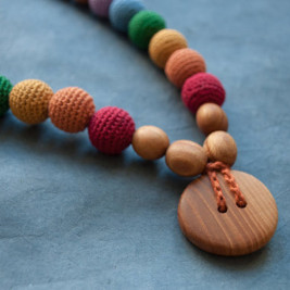 Double Earthy Rainbow Necklace, Oak Wood Kangaroocare
