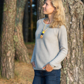 Babywearing Necklace - Yellow & Navy, Juniper Wood Kangaroocare