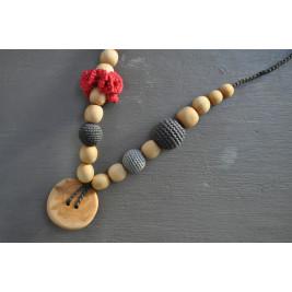 Necklace babywearing and breastfeeding Kangaroocare Physio Elephant Fuchsia Flower Series Limited Naturiou