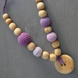 Collier portage et allaitement Kangaroocare avec Perles Lilas Série Limitée
