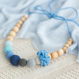 Collier portage et allaitement Azur et fleur plate Kangaroocare
