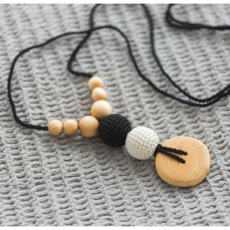 Collier de portage et d'allaitement Button noir blanc Kangaroocare