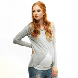 Love And Carry The Top Of Pregnancy And Breastfeeding Gray And White