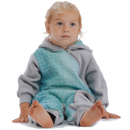 Lennylamb Bear Romper Gray Melange & Big Love Ice Mint