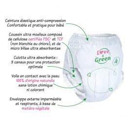 Disposable diapers-Love and green size 6 (over 16 kg)