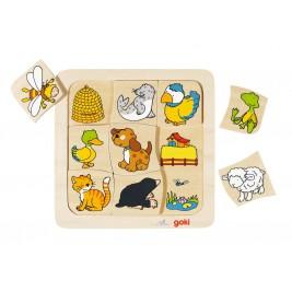 Puzzle en bois, Qui vit où? par Goki