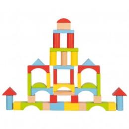 Goki Baril de construction 76 briques bois coloré