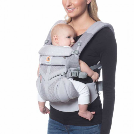 Ergobaby Omni 360 Cool Air Mesh Grey polka dots Pink - baby-carrier Expandable 4 Positions