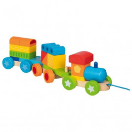 Goki Budapest train with bricks - wooden toys