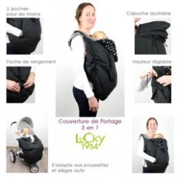 Lucky Couverture de portage 3 en 1 Noir