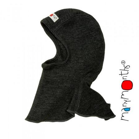 Manymonths Foggy Black - Cagoule bébé pure laine mérinos