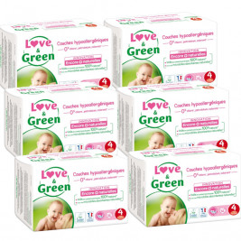 Love and Green Pack 6x46 disposable Diapers size 4 (7 to 14 kg)