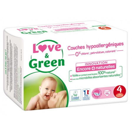 Love and Green Pack 6x46 Couches jetables taille 4 (7 à 14 kg)