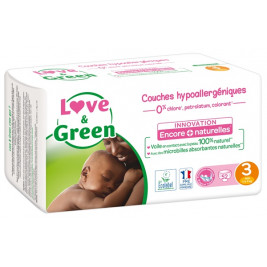 Love and Green Pack 6x52 disposable Diapers size 3 (4 to 9 kg)
