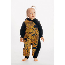 Lennylamb Bear Romper Black - Under the Leaves Golden Autumn