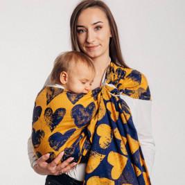 Lennylamb Ring Sling Lovka Mustard & Navy Blue - baby carrier Sling