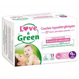 Love and Green Couches jetables taille 4+ (9 à 20 kg) x42