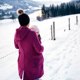 Manteau de grossesse et portage Mamalila en laine Fuchsia