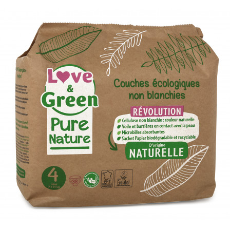 Love and Green, couches hypoallergéniques, Pure Nature, Taille 4 x 38