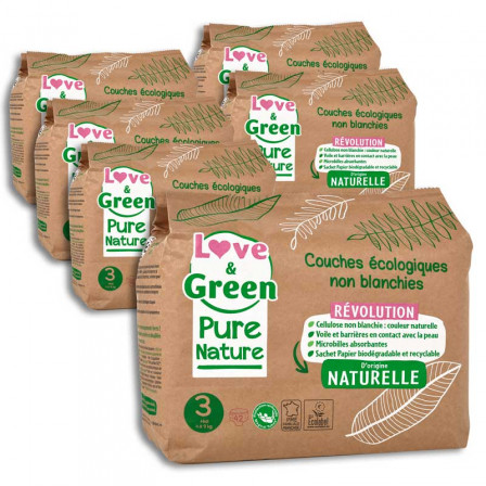 Love and Green Pure Nature Pack 6x42 Couches jetables taille 3 (4 à 9 kg)