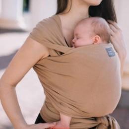 Love And Carry Almond - Écharpe de portage extensible Coton BIO