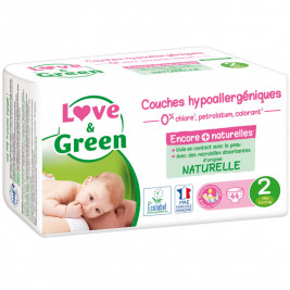 Love and Green Pack 6x44 Couches jetables taille 2 (3 à 6 kg)