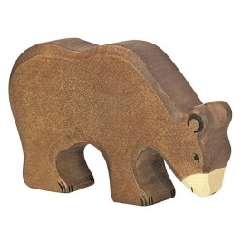 Ours brun mangeant en bois Holztiger