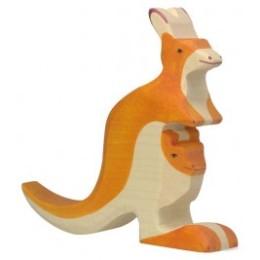 Kangourou avec petit en bois Holztiger