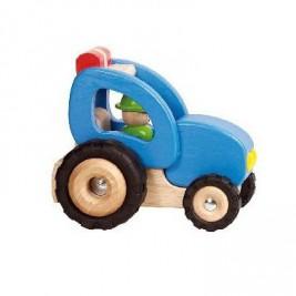 Tracteur bleu en bois par Goki