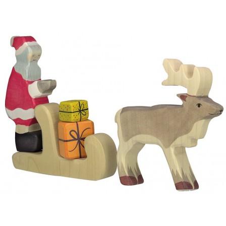 Cadeaux de Noël pere noel luge et cerf en bois par Holztiger