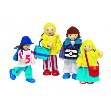 Famille en vacances, poupées articulées goki bois