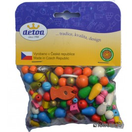 70 grammes de Perles colorées en bois
