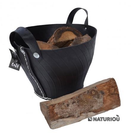 panier en pneu recyclé avec bois, buches de 33 cm