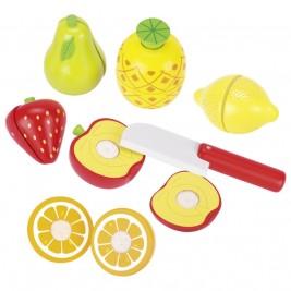 Fruits en bois avec scratchs Goki