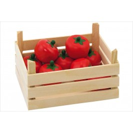 Crate of tomatoes in the wood Goki