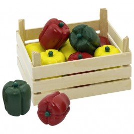 Crates of peppers in a wood Goki