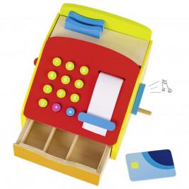 Caisse enregistreuse en bois avec manivelle et sonnerie Goki